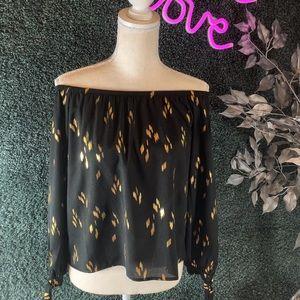 Honey Punch Black & Gold off the shoulder blouse